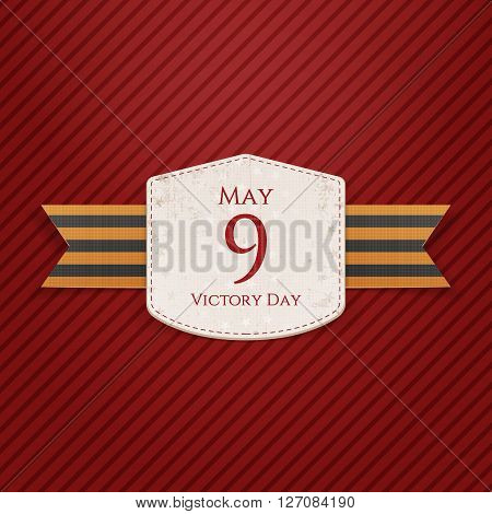 Victory Day. May 9 realistic Holiday Banner Template with st. George festive Ribbon on striped red Background. Vector Illustration