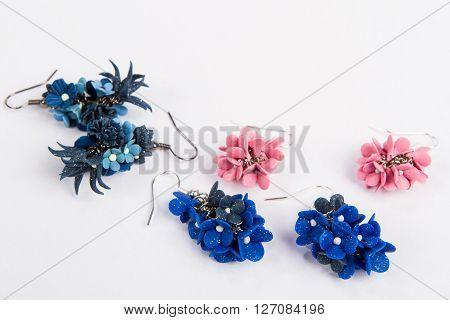 rose earrings beautiful handmade earrings isolated on white background