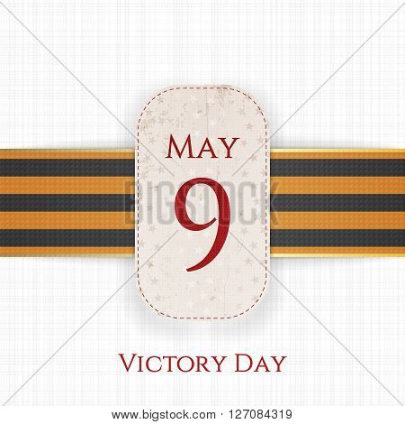 May 9 Victory Day realistic Holiday Banner Template with st. George Ribbon on white textile Background. Vector Illustration