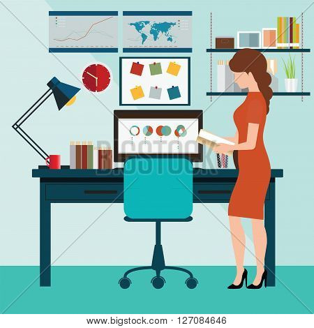 Businessman working in working in office office desk office computer computer desk office office space monitor vector illustration.
