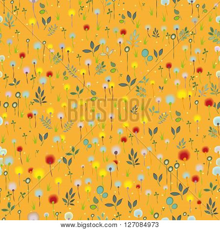 Orange Blossoming floral Field. Vector Seamless Pattern