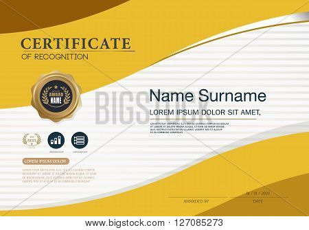 Certificate of achievement frame design Gold Template