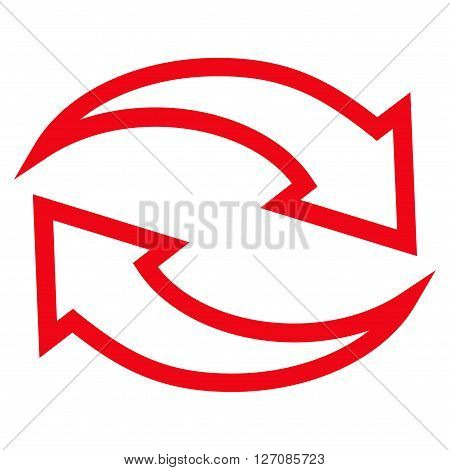 Update Arrows vector icon. Style is contour icon symbol, red color, white background.
