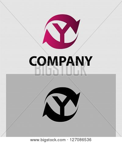 Vector illustration of abstract icons of letter Y