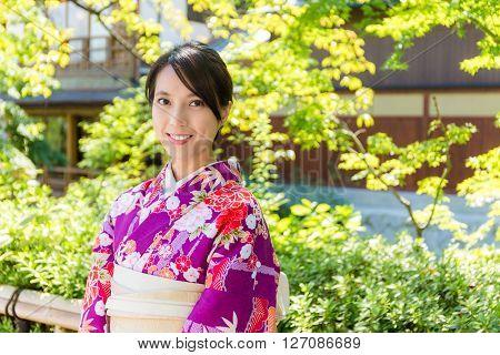 Woman with kimono dressing