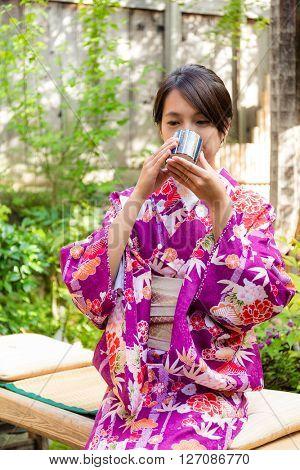 Japanese woman drink of tea