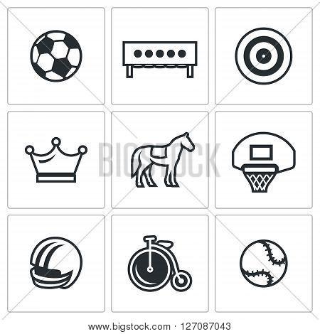 Soccer Ball, Biathlon Target, Archery Target, Crown, Horse, Basketball Ring, Helmet, Bicycle,