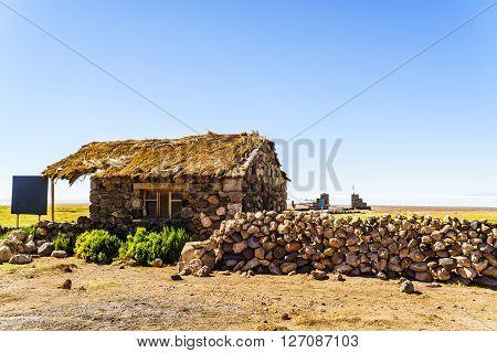 Rock cottage at Coqueza Village in Uyuni salt flats, Bolivia