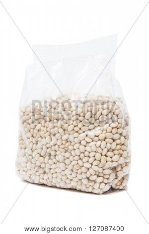 packaged kidney beans on a white background