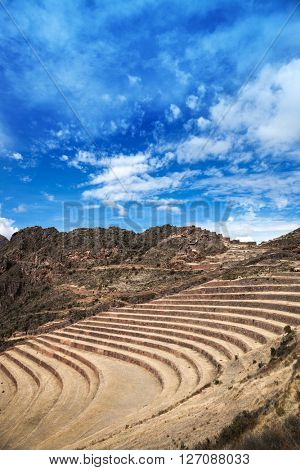 terraces and Inca fortress in the Andes