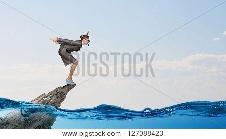 Businesswoman diver. Concept image