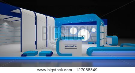 Blank Modern Booth Exhibition Cocept 3d Rendering; 3d Illustration
