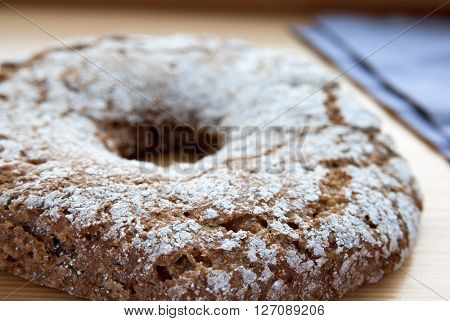 Traditional finnish homemade rye bread. Close up image.