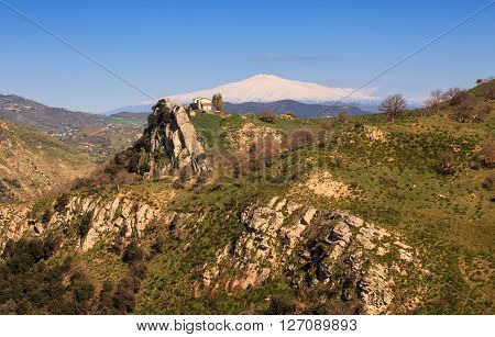 View of Etna volcano from Sicily countryside ** Note: Soft Focus at 100%, best at smaller sizes