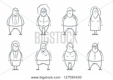 Line art set of business team people. Doodle stylized people set. Different people of business team. Vector line illustration. Team isolated on white background. Line drawn set of business persons.