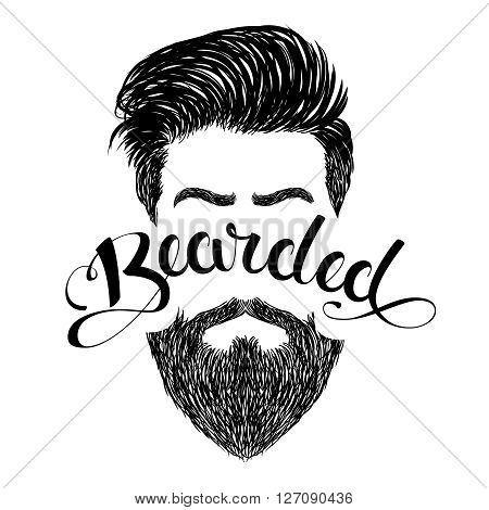 Black barbershop logo with lettering word Bearded and hand drawn haircuts and beard. Isolated  vector illustration on white background.