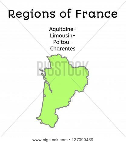 France administrative map of Aquitaine-Limousin-Poitou-Charentes region on white