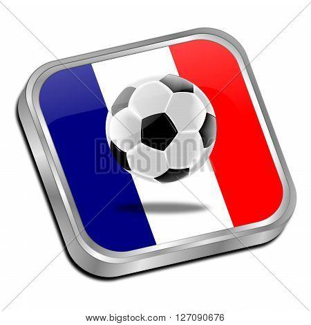 Soccer ball on a flag of France button 3D Illustration