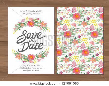 Save the date wedding invitation with watercolor flowers and hand drawn lettering. Card template on a wooden background. Illustrator swatch for seamless background included.