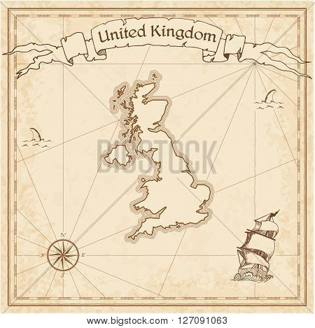 United Kingdom Old Treasure Map. Sepia Engraved Template Of Pirate Map. Stylized Pirate Map On Vinta