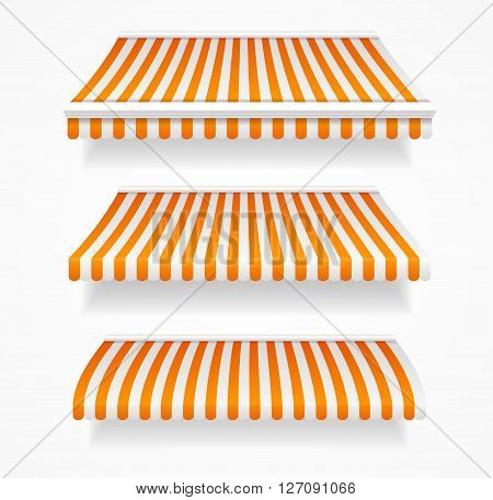 Striped Colorful Awnings Set for Shop. Vector illustration