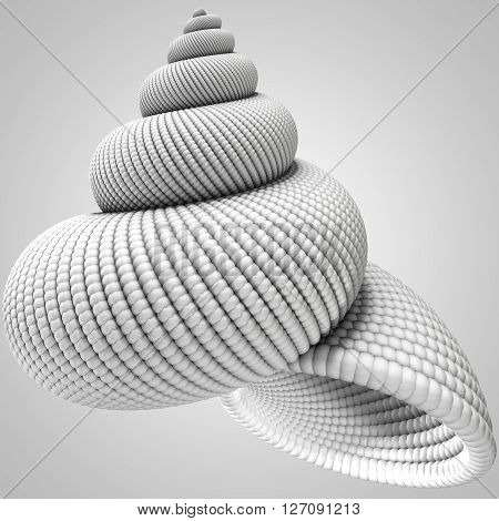 3D illustration of shell object on grey background
