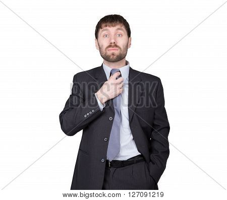 gestures distrust lies. body language. man in business suit, straightens his tie, flirting. isolated on white background. concept of true or false.