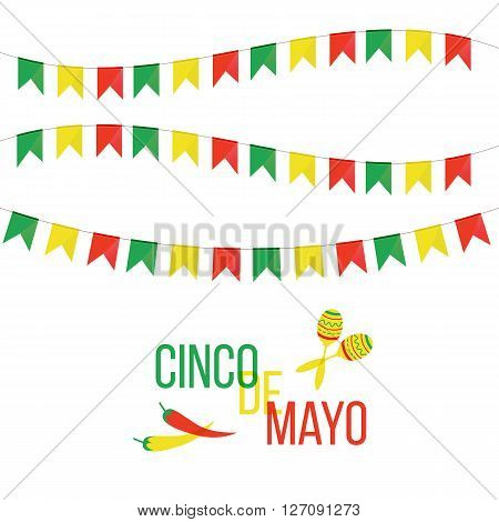 Cinco de Mayo mexican greeting card. Vector illustration with colorful flags peppers and maracas.