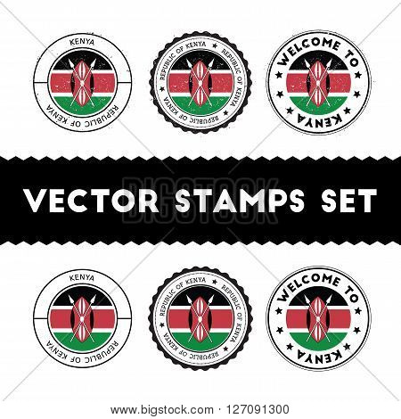 Kenyan Flag Rubber Stamps Set. National Flags Grunge Stamps. Country Round Badges Collection.