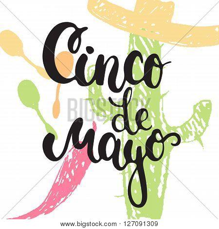 Cinco de Mayo mexican greeting card. Vector illustration with hand drawn sketch jalapeno cactus sombrero and maracas.