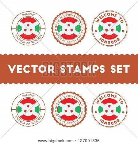 Burundian Flag Rubber Stamps Set. National Flags Grunge Stamps. Country Round Badges Collection.