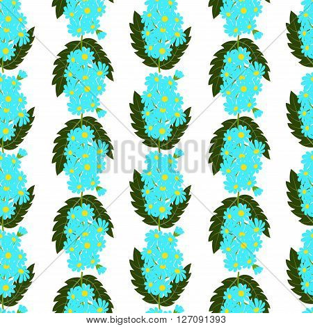Seamless pattern, bouquets of forget-me-not with leaves on white background, vector illustration