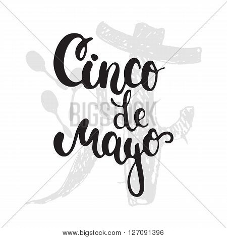 Cinco de Mayo mexican greeting card. Vector illustration with hand drawn sketch jalapeno cactus sombrero and maracas.