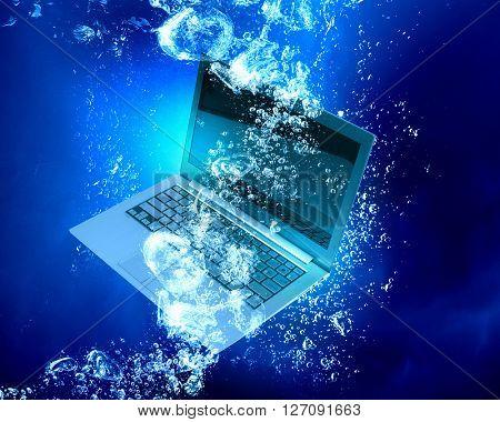 Laptop under water