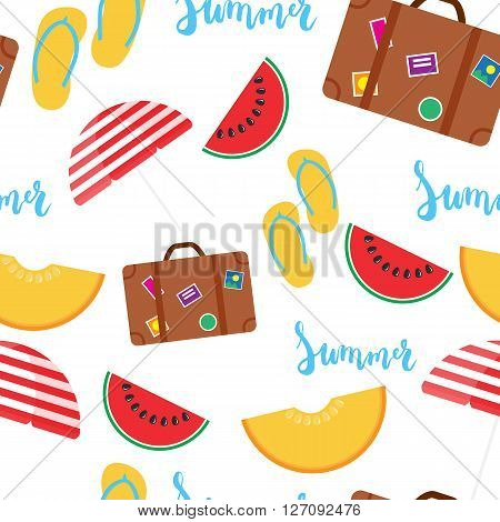 Summer seamless pattern with brush hand painted lettering phrase Summer isolated on the white background with colorful watermelon melon step-ins parasol suitcase icons.