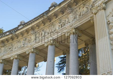 Stone monument with Ionic columns in the Jardin del Retiro in Madrid, Spain