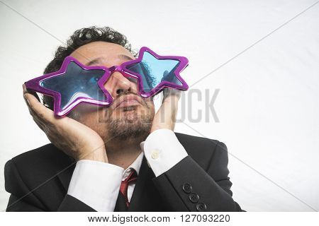 businessman with glasses stars, crazy and funny achiever