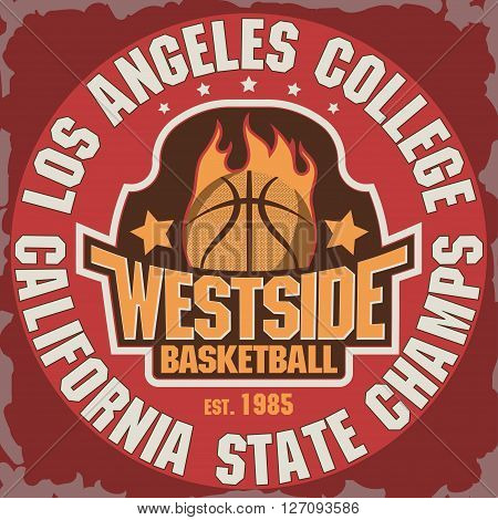 California Basketball Team t-shirt graphics, College Championship grunge Emblem, Basket Ball on Fire Sport Athletics typography stamp, vintage sport-wear tee print design