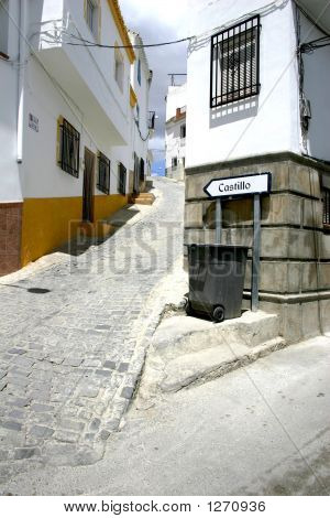 Y Turn Splitting A Narrow Road In An Andalusian Town Spain