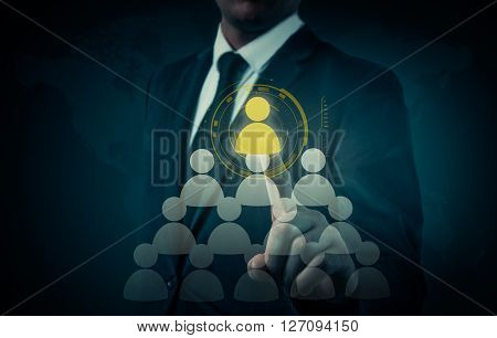 Hand carrying businessman icon network - HRHRMMLM teamwork and leadership concept.