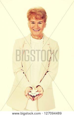 Smile elderly elegant woman holding a toy plane