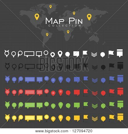 Vector pin map icon mark symbol location colorful retro flat shadow collection