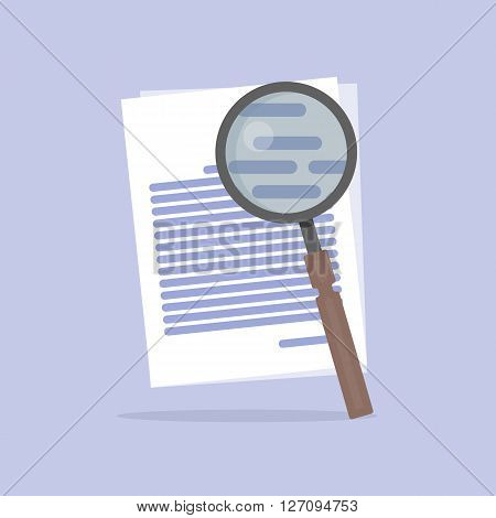 Flat Vector illustration of document Search icon isolated