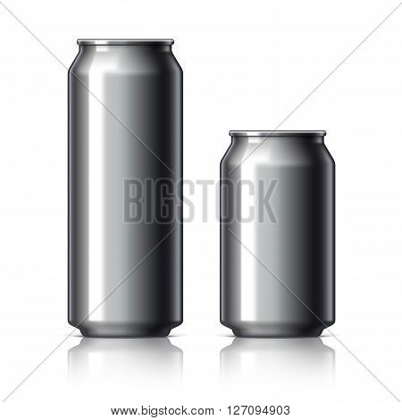 Black shiny aluminum cans for beer and soft drinks or energy. Packaging 500 and 330 ml. Object shadow and reflection on separate layers. Vector illustration