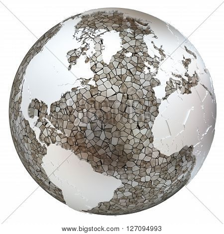 North America And Europe On Translucent Earth