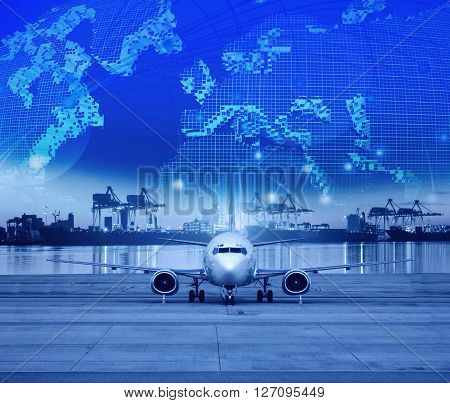 cargo plane parking in airport runways and shipping port behind use for ship port logistic and air freight delivery service