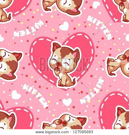 Vector seamless pattern with kitten. Funny background with animals for kids.