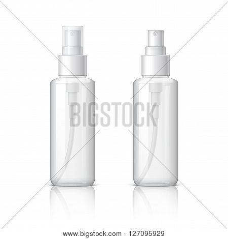 Realistic Cosmetic glass bottle can sprayer container. Dispenser for cream soups and other cosmetics With lid and without. Template For Mock up Your Design. vector illustration.