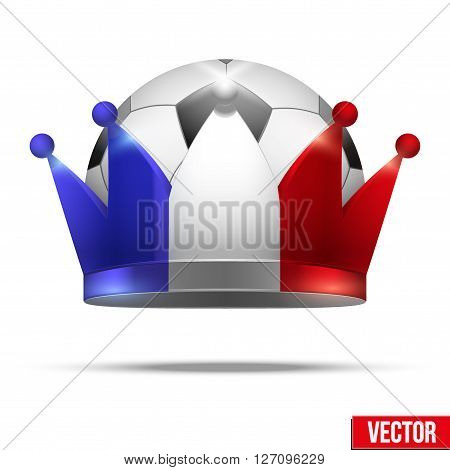 Soccer ball with flag of France crown. Isolated Realistic Vector illustration.