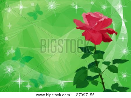 Holiday Background with Flower Rose, Butterflies and Star Silhouettes, Low Poly Pattern. Vector